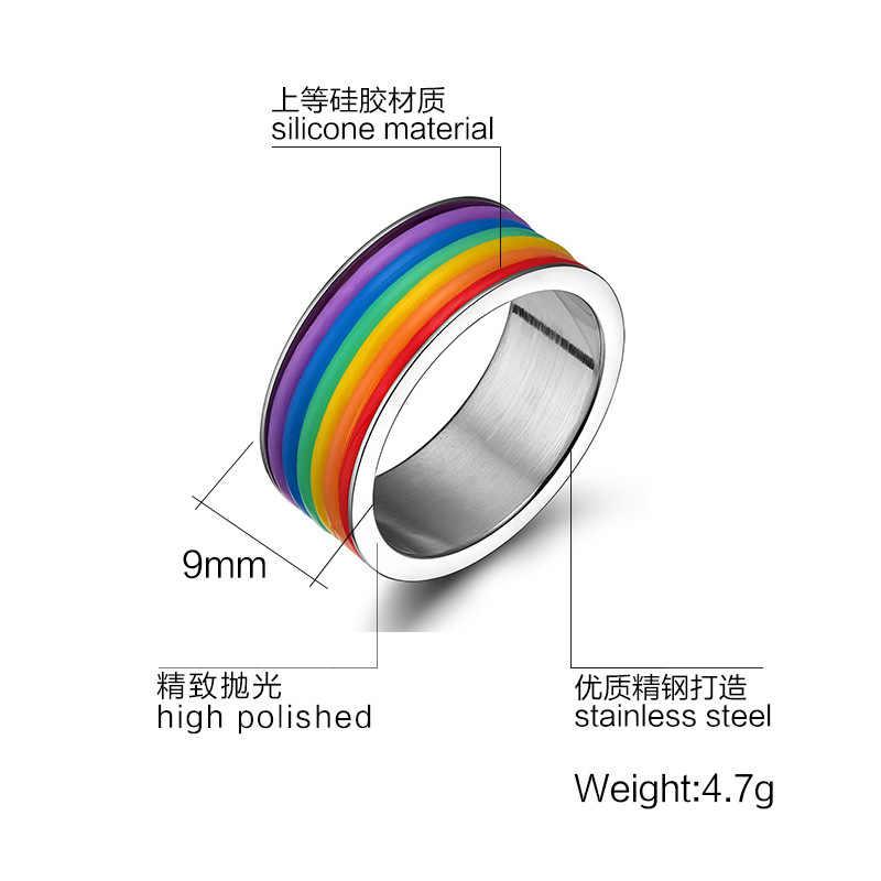 Rainbow Anel Para Homens/Mulheres Anel de Casamento Do Aço Inoxidável 9 MM de Largura
