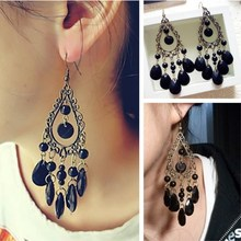 EK656 New Brincos Pendientes Bijoux Vintage Bronze Black Gem Drop Water Earrings For Women Wedding Jewelry Tassel Boho Boucles