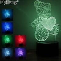 Светодиодные лампы 3D иллюзия мультфильм милый Сердце Медведь Форма акриловые светодиодные лампы 3D Детские ночник спальный Освещение для п...
