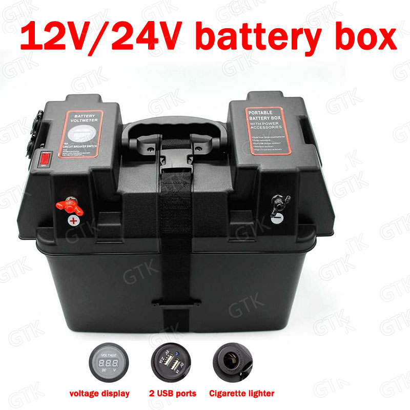 battery box with 2 USB ports Cigarette lighter voltage display for 12v 24V 36V 48V 60V 72V 84V 50A 100A 150A lifepo4 li ion LTO