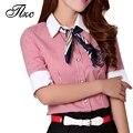 Padrão listrado Estilo Coreano Mulheres Camisas Ocasionais Magros Plus Size S-4XL Turn-down Collar Meia Manga Blusas Moda Mulher