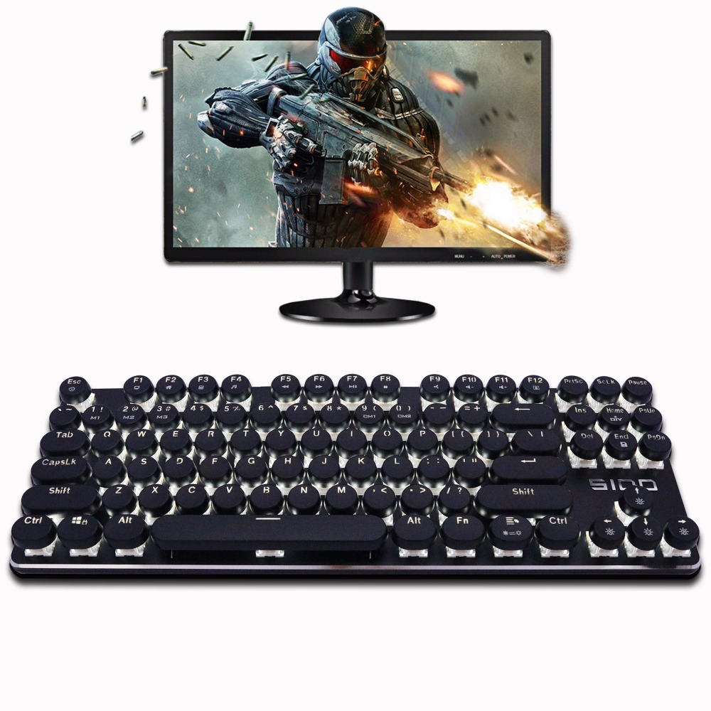 S100 Mechanical Keyboard 87/104 Anti-ghosting Blue Red Black Brown Switch Backlit LED wired Gaming keyboard Retro Round keycap professional mini bluetooth wireless backlit gaming mechanical keyboard blue black red brown switch wired game keyboard for pc