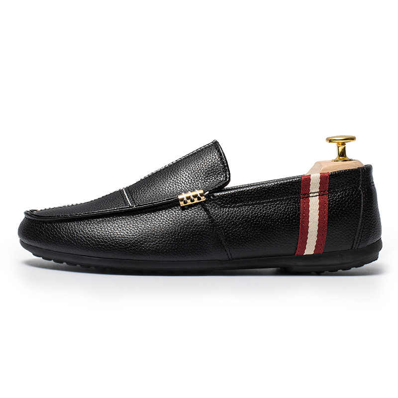 a668944f1d2 2018 модная обувь на плоской подошве Мужская мягкая обувь для вождения из  натуральной кожи ботинки из