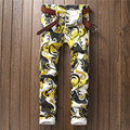 American and European Style High-Street Designer Floral Pants Night Club Hip Hop Brand Flower Printed Patterned Trousers For Men