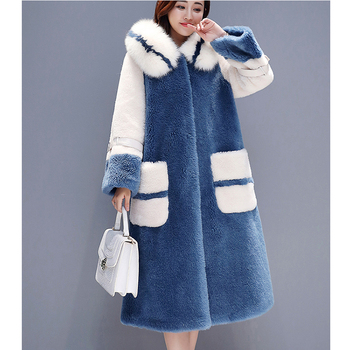 2019 winter new hooded Single-breasted coat female Long section Lamb wool cotton fur cotton padded Cotton clothing coat womenw16