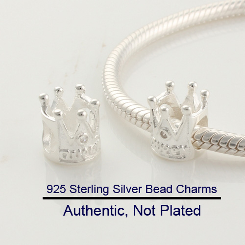 DIY Fits for Pandora Charms Bracelets 100% 925 Sterling-Silver-Jewelry Crown Beads Free Shipping