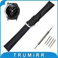 Couro genuíno faixa de relógio 20mm para samsung gear s2 classic R732/R735 Cinto de Fivela de Aço Inoxidável Correia de Pulso Pulseira Preta marrom