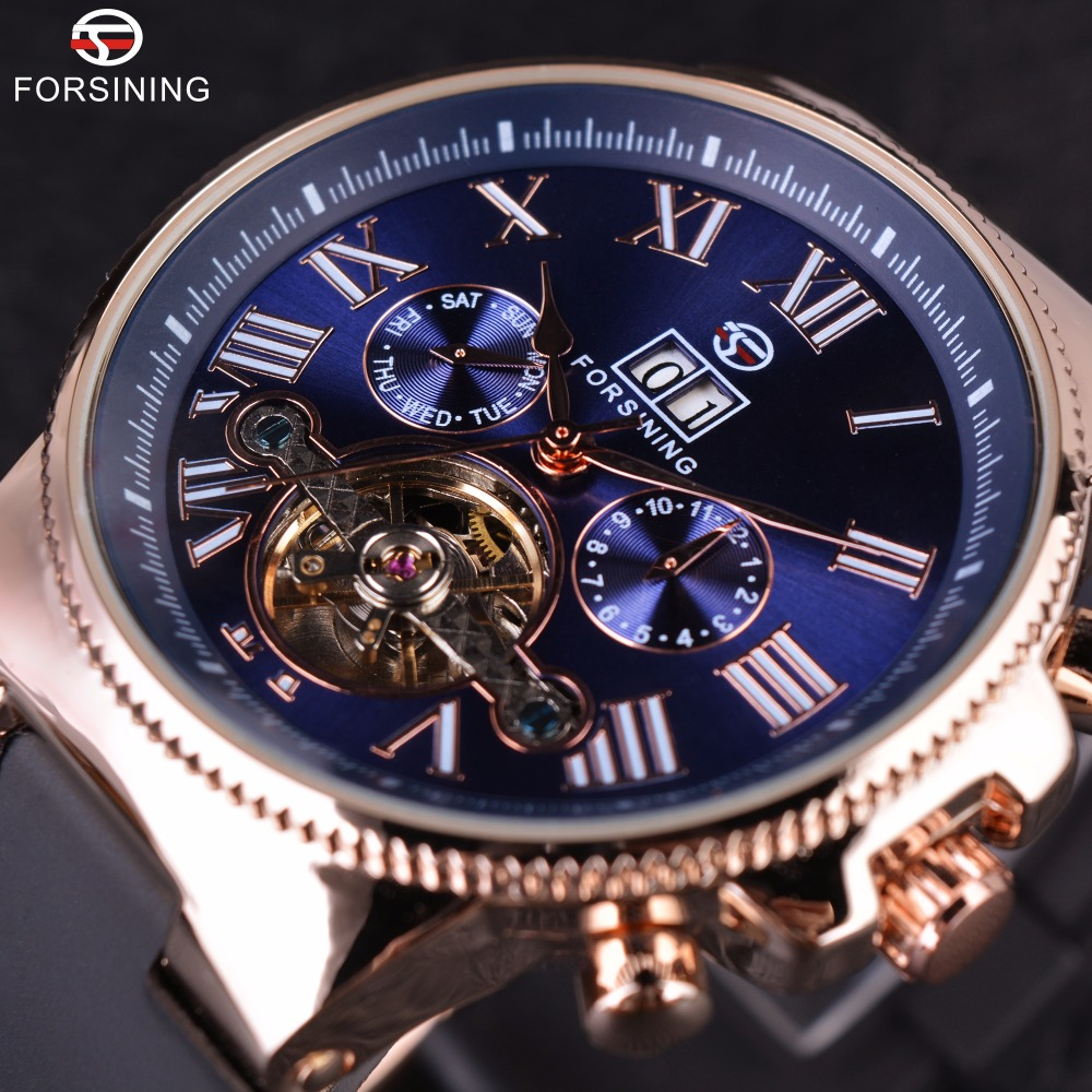 Forsining Rose Golden Bezel Tourbillion Designer High Quality PVC Band Male Automatic Wrist Watches Mens Watch Top Brand Luxury forsining navigator series tourbillion date display black silver watch top brand luxury male automatic mechanica wrist watches