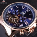 Forsining Rose Golden Bezel Tourbillion Designer High Quality PVC Band Male Automatic Wrist Watches Mens Watch Top Brand Luxury