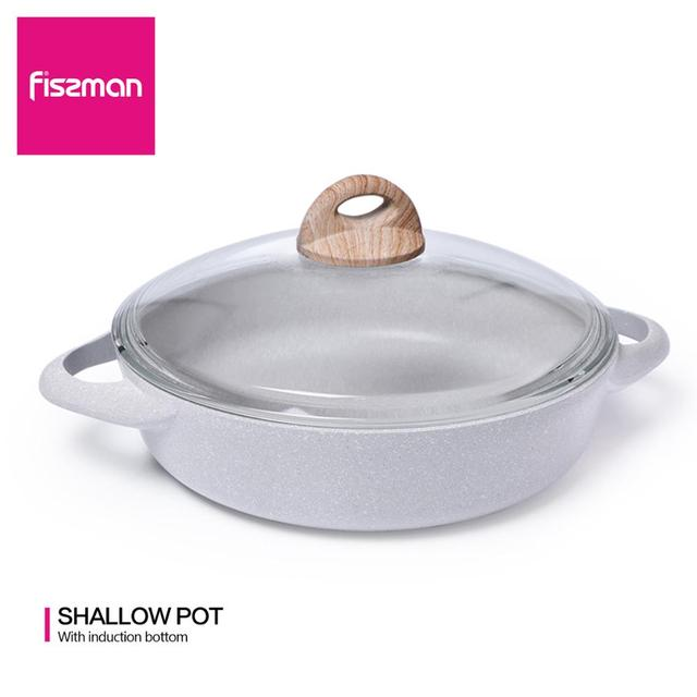 $ US $46.00 FISSMAN Low Casserole with Lid Non-stick Coating Induction Cooker BORNEO Series Shallow Pot