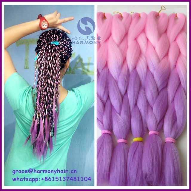 Free Shipping 10packs 24 100g Ombre Pink Braiding Hair And Light Purple Lavender Synthetic Jumbo Box Braids