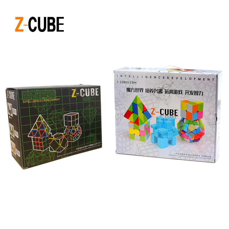 ZCUBE 5pcs box Colorful Stickerless Carbon Fiber Magic Cube Set 3x3x3 Speed Puzzle Pyraminx Megaminx Axis