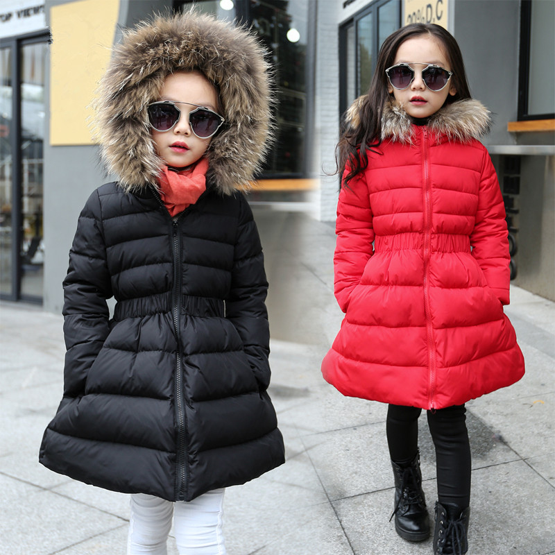 new 2017 kids red long hooded coat children outerwear winter jacket for girls 12 years black warm coat with fur collar girl gift