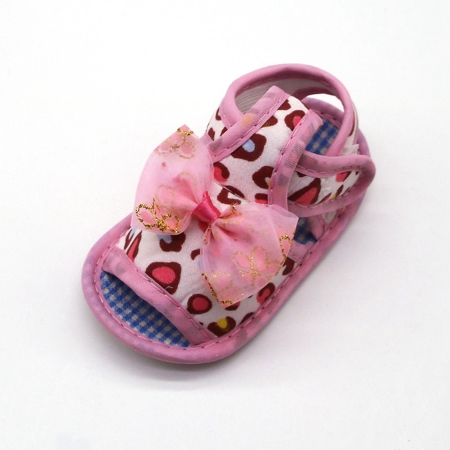 2019 Infant toddler sandals solid color bow cotton shoes leopard print sandals baby toddler shoes for 0-18M 4