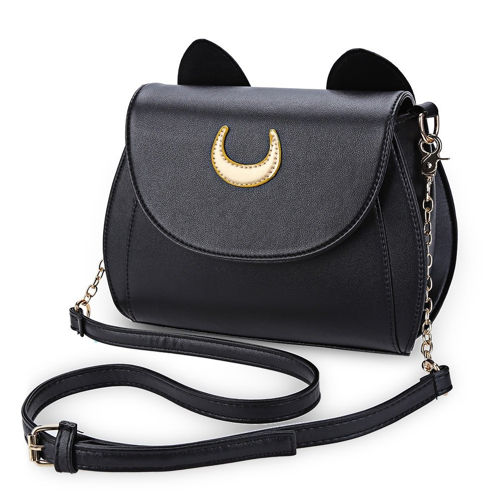 Kawaii-Summer-Sailor-Moon-Ladies-Handbag-Black-Luna-Cat-Shape-Chain-Shoulder-Bag-PU-Leather-Women