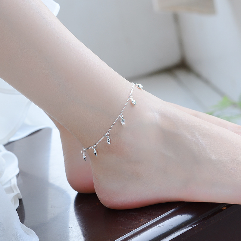 LUKENI New Fashion 925 Sterling Silver Anklets For Girl Party Accessories Trendy Rose Bracelets Women Jewelry Gift