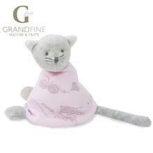 Made in china 15cm 100% hand-made pink cat baby doll,cotton linen Eco material ,plush toys for birthday party gift