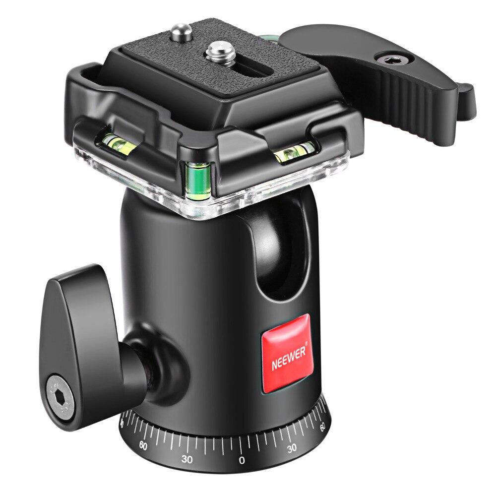 Neewer Caméra Vidéo Trépied Rotule 360 Degrés de Rotation Panoramique Rotule avec 1/4 pouces Plaque de Cireur Rapide et Niveau À Bulle