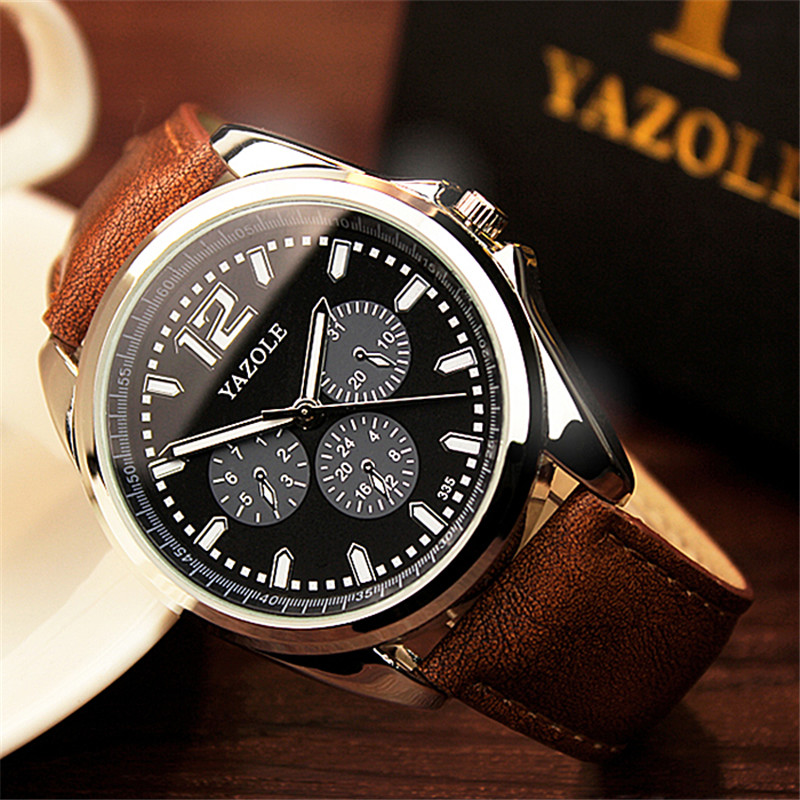 YAZOLE fashion luxury brand men's watch false three needle round large dial black luminous hands waterproof Quartz watches men three hands 11 см black