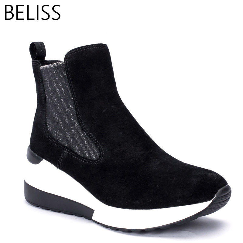 BELISS 2018 spring autumn ankle boots female cow suede leather platform comfortable women sneakers fashion top