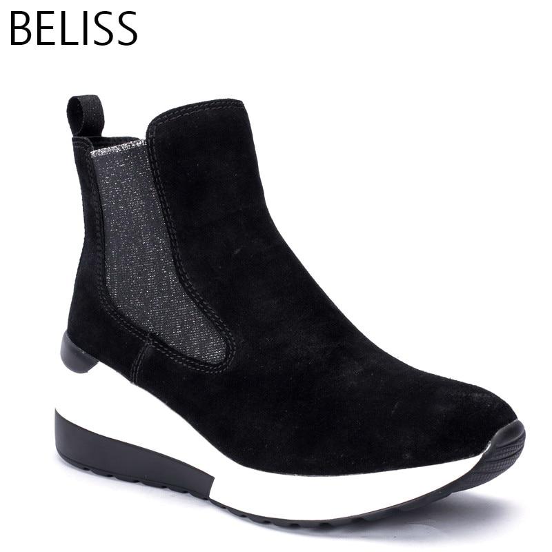 BELISS 2018 Демисезонные ботильоны женские корова замша на платформе удобные Женские кроссовки модные наивысшего качества B35