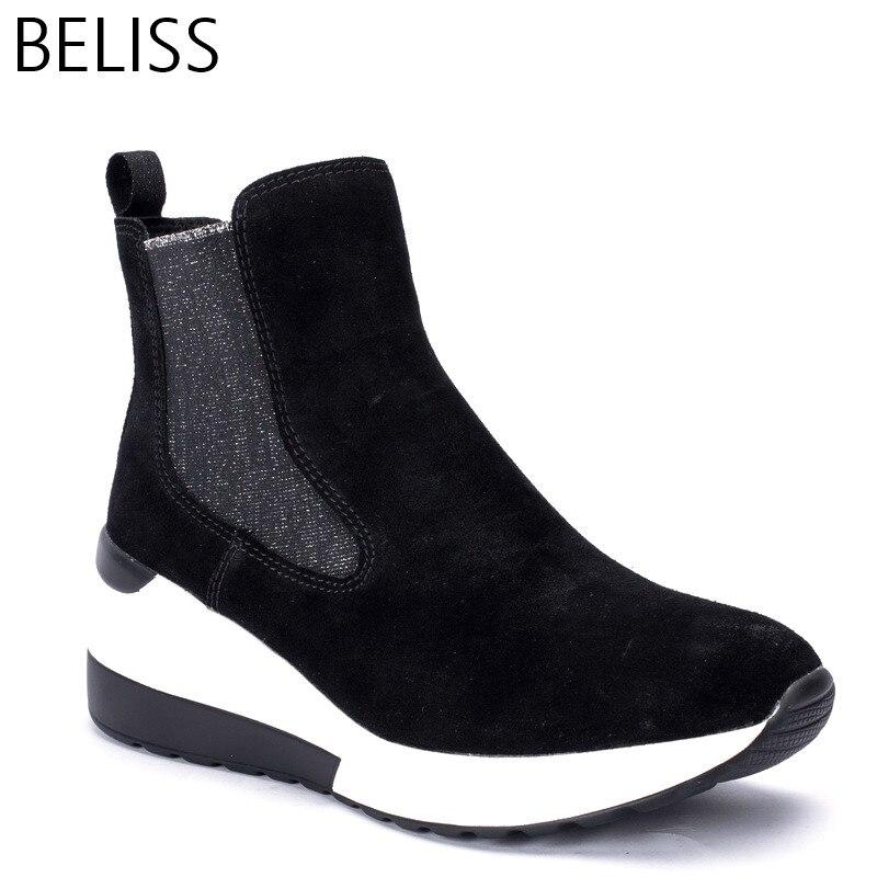 BELISS 2018 primavera outono tornozelo botas femininas botas de plataforma de couro camurça da vaca confortáveis as sapatilhas das mulheres moda top quality B35