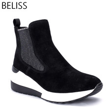 BELISS 2018 spring autumn ankle boots female cow suede leather platform comfortable font b women b