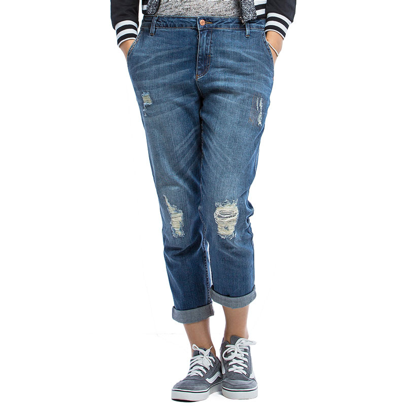 2016 Fashion Boyfriend   jeans   for women Plus Size   jeans   women Elastic hole Ripped   Jeans   femme cotton Capris Straight Pants