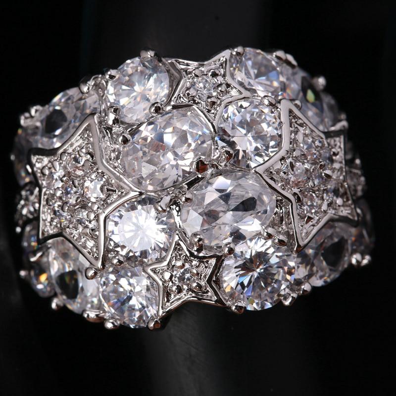 Classy Huge Gems White Cubic zirconia 925 Sterling Silver Trendy Women's Jewelry Rings US# Size 6 7 8 9 S1669