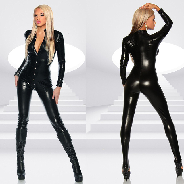 Sexy Women's Black Patent Leather Jumpsuit Vinyl Latex Bondage Catsuit Wetlook Leotard Covered Button Bodysuit Clubwear
