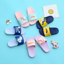 2019 Summer Unicorn Slippers for Boy Girl Rainbow Shoes Animal Kids Indoor Baby PVC Cartoon Beach