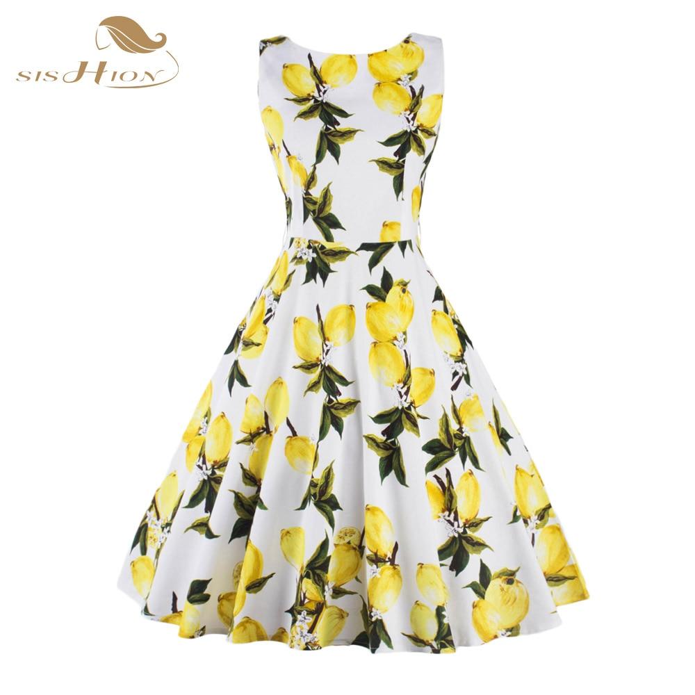 4b18f39a2d951 SISHION S-XXL Plus Size Women Fruit Lemon Dress Tunic Vestidos Retro Vintage  50s Rockabilly Floral Swing Summer Dresses Elegant