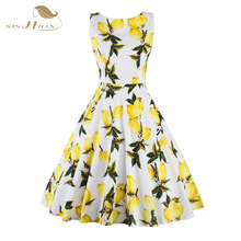 SISHION S XXL Plus Size Women Fruit Lemon Dress Tunic Vestidos Retro Vintage 50s Rockabilly Floral