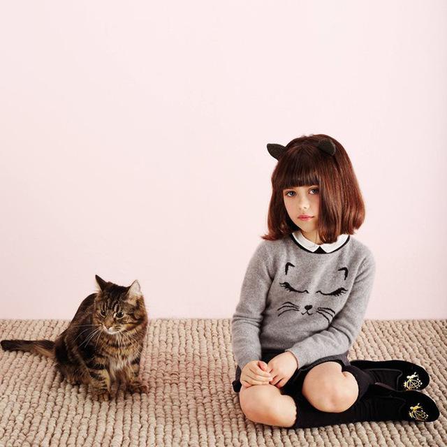 POKA camisola da menina do menino das crianças Novas de inverno cabelo do coelho cat-cabeça de desenhos animados para crianças camisola nova marca a roupa das crianças