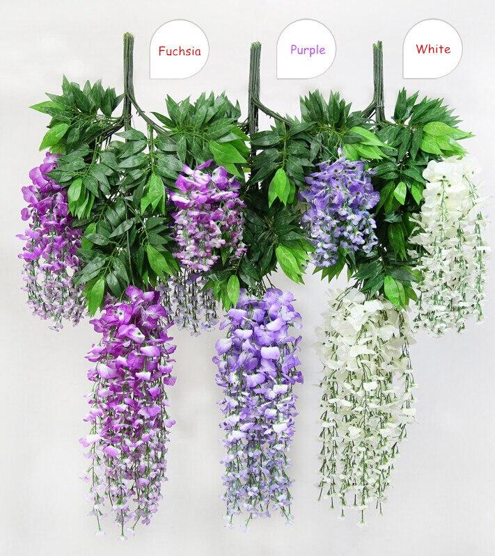 12ks 110cm dlouhé umělé hedvábí Wisteria falešné zahradní svatební závěsné květiny rostlinné révy dekorace