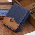 2016 Vintage Men's Wallet Short Canvas Purses Fashion double layer Money Clips Patchwork Outside Zipper Wallet For Men,Boy
