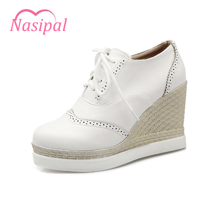 Nasipal Woman Shoes Pumps New Spring Autumn Round Toe Female Casual Wedges Heels Shoes Lace Up School Shoes Women Size 43 C074 2017 new spring autumn big size 11 12 dress sweet wedges women shoes pointed toe woman ladies womens