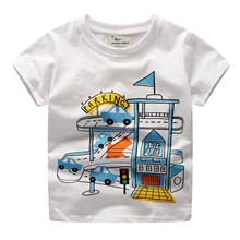 New style summer T-Shirts For boy cartoon print T-Shirts For Boys white cotton Regular Tops Clothes  Short Sleeve T-shirt 2-7T