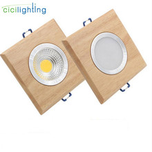 square solid wood led downlight, modern 3W 5W led recessed ceiling spotlights industrial office ceilling lamp home cabinet light
