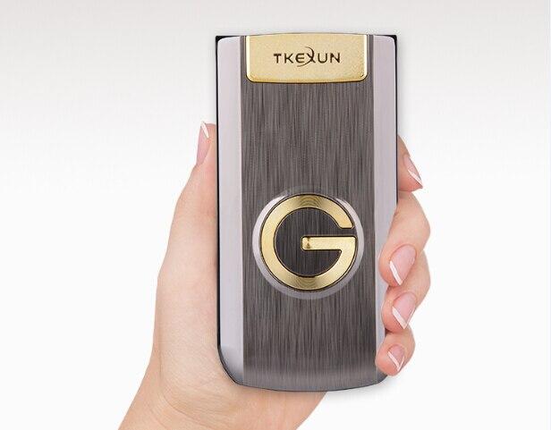 Flip Métal Principal Téléphone TKEXUN G9000 G3 Grand Clavier/Son Vieux Personnes/Homme Cellulaire Téléphone Parents Cadeau Russe français Langue