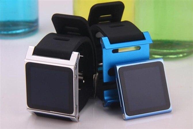 Luxe Coloré deuxième génération Insérer style Cadre En Aluminium En Métal + de silicium Dragonne sac de Couverture de Cas Pour apple iPod Nano 6e