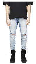 new males jeans Hip Hop top of the range Skinny Denim Biker Joggers Fashion Street casual Pencil Pants trousers three colors