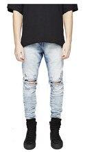 Новые люди раз известные джинсы хип-хоп высокое качество тощие байкер бегунов мода улица свободного покроя карандаш брюки 3 цветов