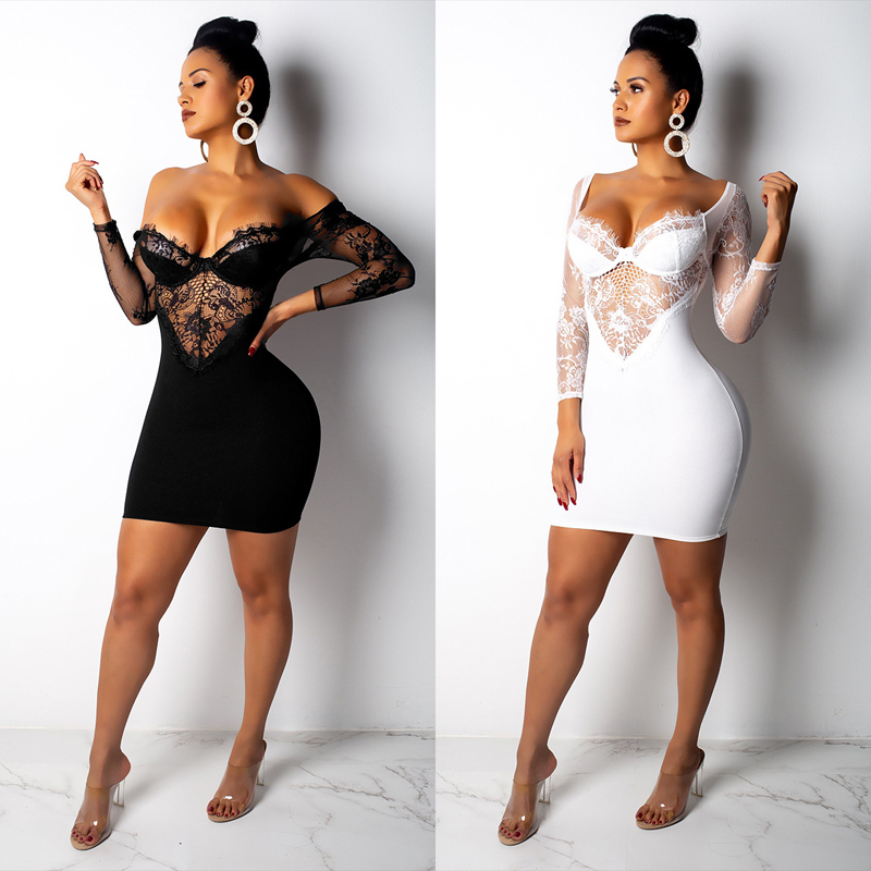 1b25f9d765 US $22.0 |Women Lace Low Cut Off The Shoulder Sexy Bodycon Mini Party Dress  Long Sleeve Slash Neck Autumn Above Knee Club Dress-in Dresses from ...