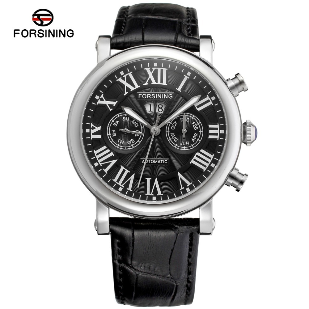 Classic Luxury Stainless Steel Case Black Dial Roman Numbers Silver Color Bezel reloj hombre men automatic watch  FSG9407M3S2 numbers 1 2 3
