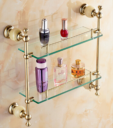Free shipping Bathroom Glass Shelf Jade & Copper Gold plated Dual Tier glass Cosmetic Shampoo Body Wash Shelves Bath shelf free shipping golden single bathroom shelf glass shelf brass made base glass shelf bathroom hardware bathroom accessories 67011