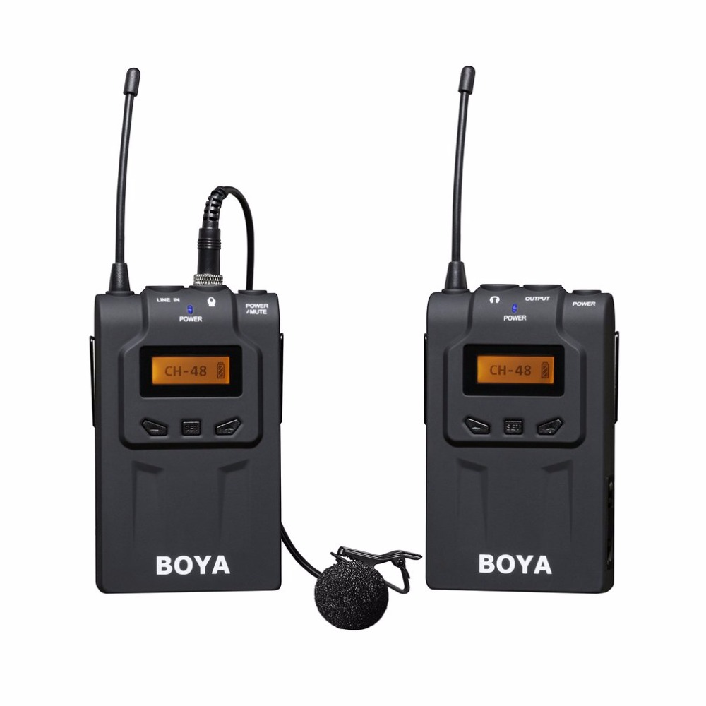 BOYA BY-WM6 Professional Wireless Microphone System 48 Channel Omni-directional Lavalier Microphone For DSLR Camcorders boya by wm5 wireless lavalier lapel microphone system for dslr camera camcorders audio recorder