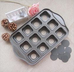 Nonstick Deluxe 12 Mini sernik Pan kwadratowe muffiny Quiches Coffee Cake Mold DIY przyrząd do pieczenia z kolorowym pudełkiem