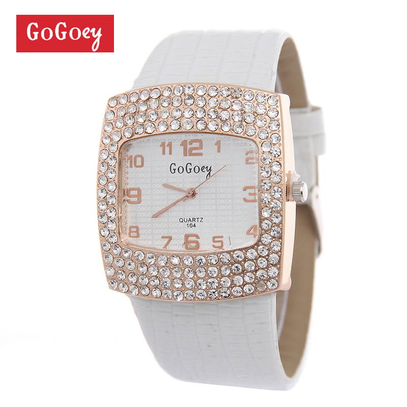 Luxury Gogoey Brand leather watches Women Lady Crystal Dress Quartz Wristwatches Valentine Gift go070 монитор dell 17 e1715s tft tn 1715 8107