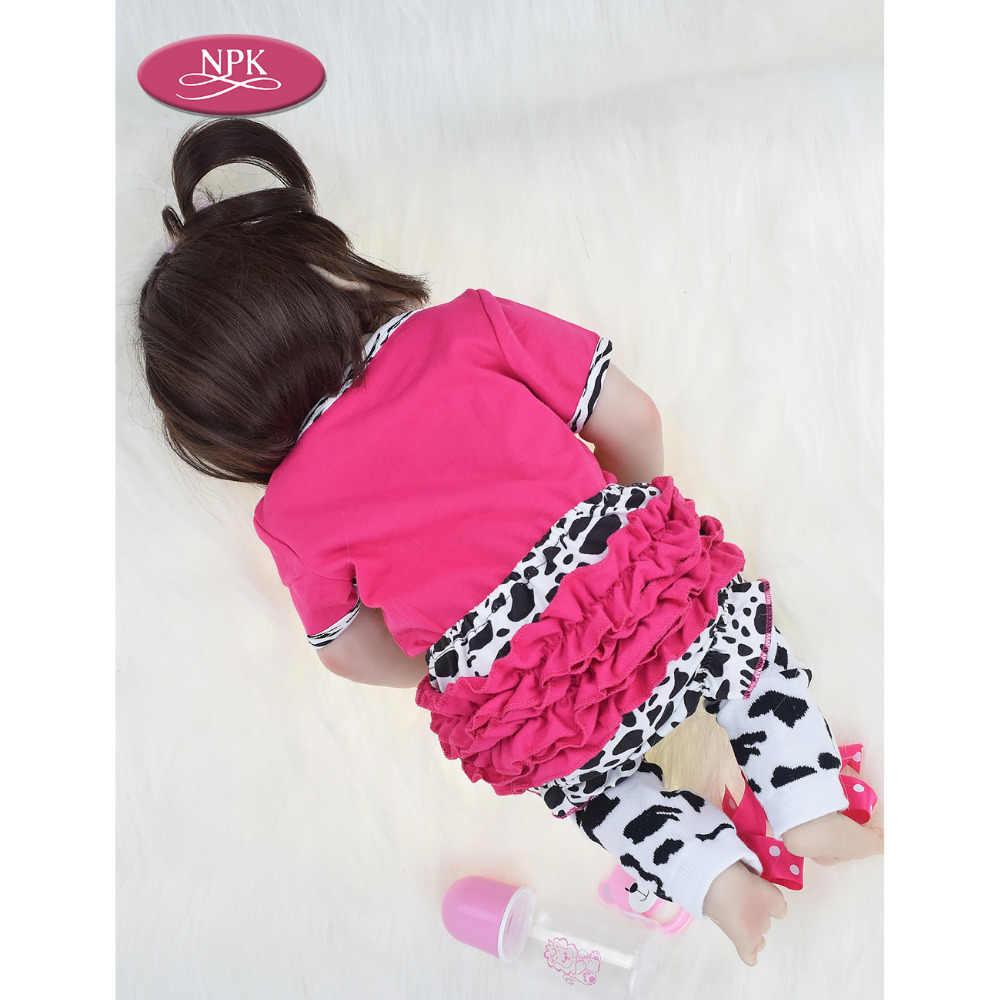 NPK настоящий 57 см полный силикон для новорожденных, для девочек кукла игрушки для ванной мягкий реалистичный винил новорожденная принцесса детская Кукла Reborn Bebe Menina